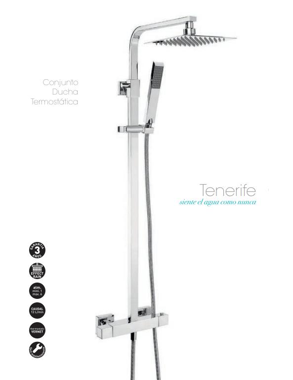 Conjunto ducha termostática con rociador cuadrado