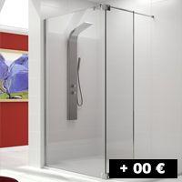 1 cristal fijo + 1 puerta abatible 8 mm 136 cm con entrada por un lado