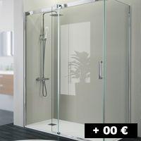 1 cristal fijo + 1 puerta corredera 112 a 184 cm con entrada por un lado