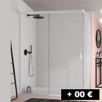 1 cristal fijo + 1 puerta corredera 95 a 200 cm con entrada por un lado