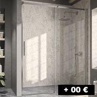 1 cristal fijo + 1 puerta corredera 96 a 168 cm con entrada por un lado