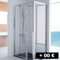 1 cristal fijo + 1 puerta pivotante 67 a 96 cm con entrada por un lado