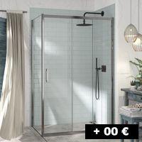 1 cristal fijo + 2 puertas correderas 77 a 140 cm con gran apertura XL por un lado