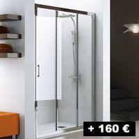 1 cristal fijo + 2 puertas correderas con gran apertura por un lado