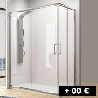 2 cristales fijos + 2 puertas correderas angular 70 a 120 cm con entrada por la esquina