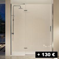 1 cristal fijo + 1 puerta abatible 70 a 145 cm (entrada por un lado)